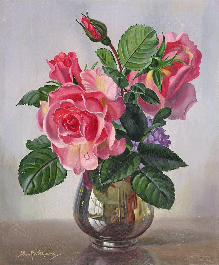 Lady Sylvia Roses In A Silver Vase By Albert Williams In 2020 Flower Painting Rose Painting Floral Painting