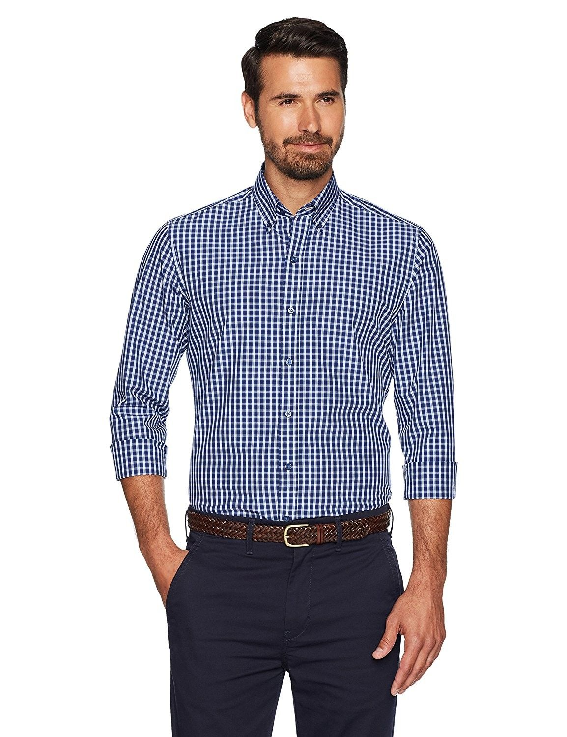 Mens Slim Fit Button Collar Sport Shirt Without Pocket Navy