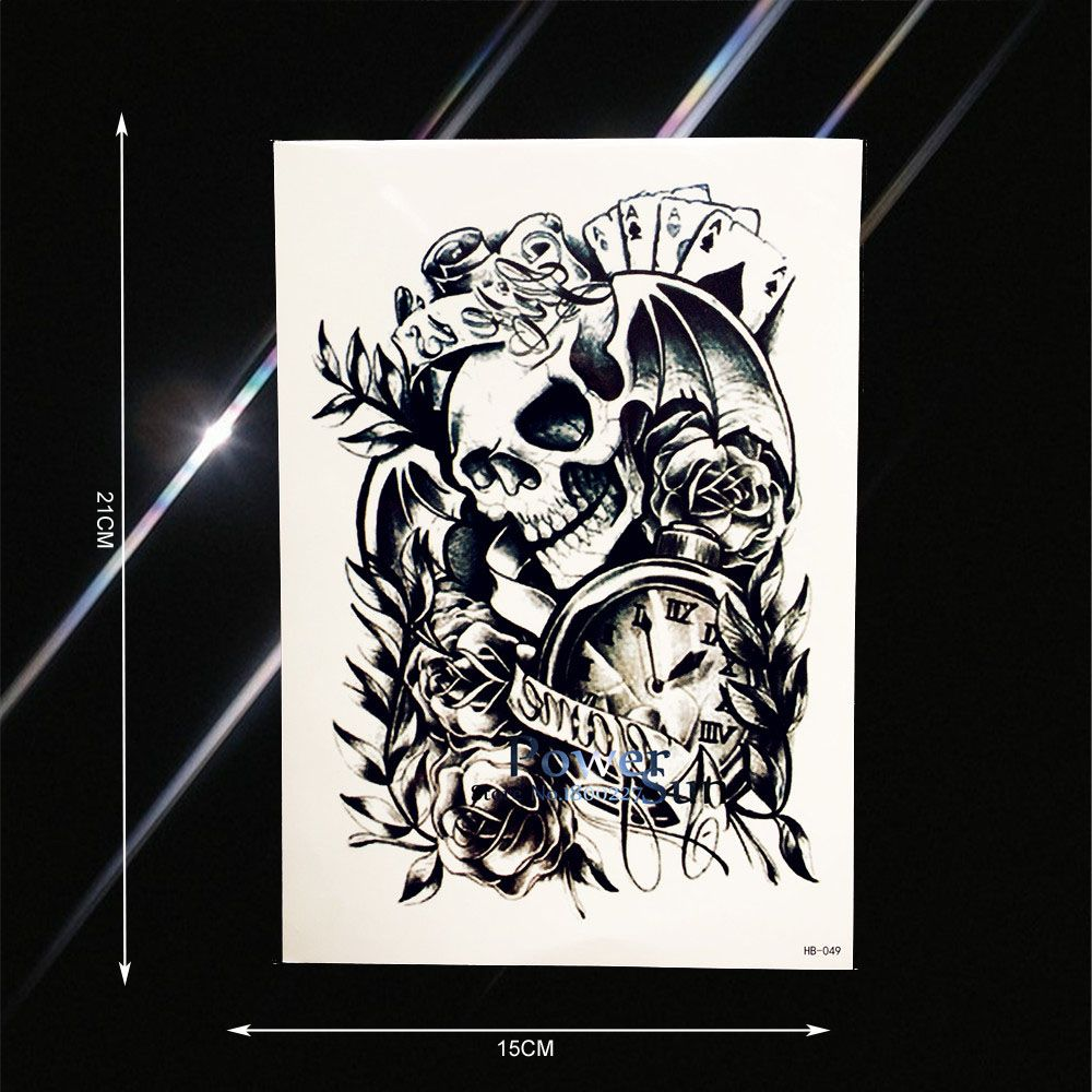 Hot Black Sketch Poker Skull Clock Temporary Tattoo