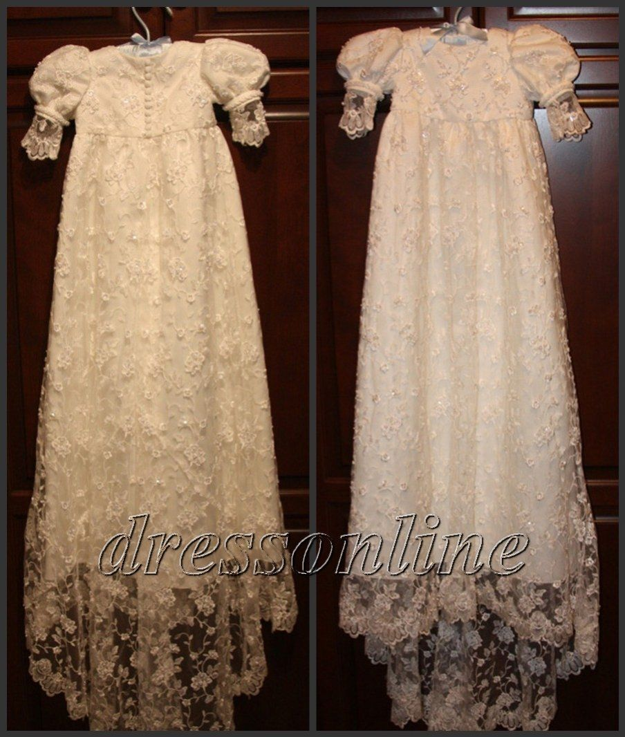 Custom Made White Ivory Lace Baby Dress Christening Baptism Gown ...