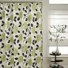 Green Flowers Black Leaves Shower Curtain