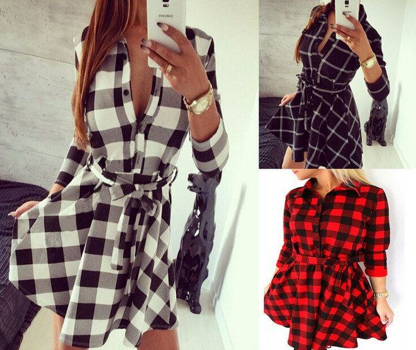 Fashion Checkered Button Lapel Dress