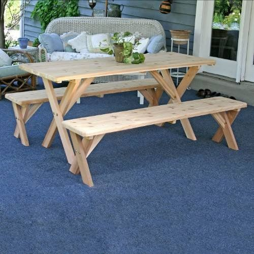 Cedar 3 Piece Dining Set Size 4 Finish No Finish By Creekvine Designs 520 12 Wf27wcltcb4cvd Size 4 Patio Dining Set Picnic Table Table And Bench Set