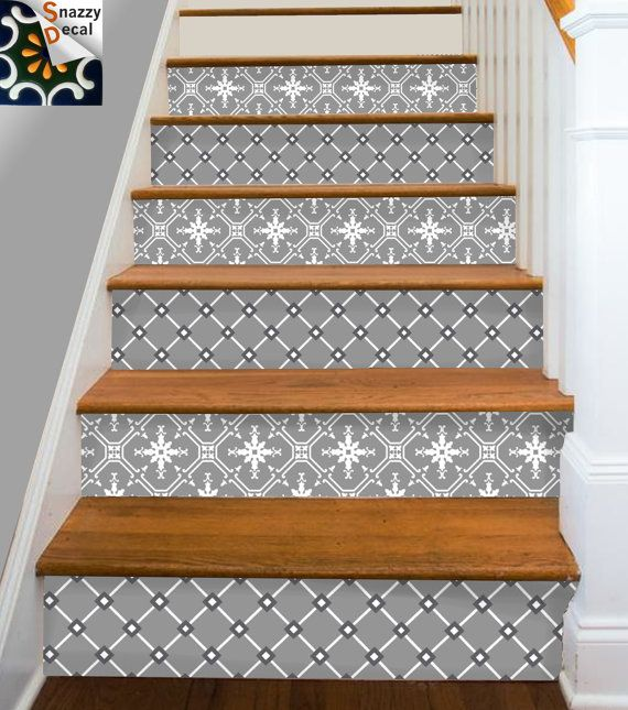 Wall Tile Decals Vinyl Sticker WATERPROOF Tile or by SnazzyDecals & Stair Riser Vinyl Strips Removable Sticker Peel u0026 Stick for 15 steps ...