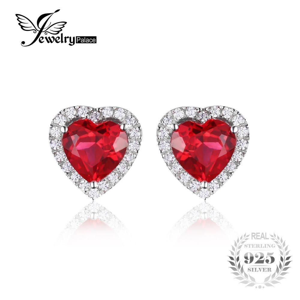golden earrings jacket studs ruby red milano diamond with