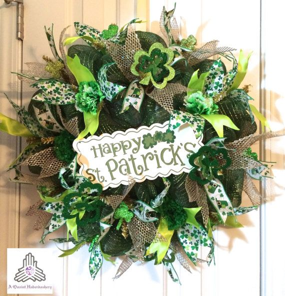 St. Patrick's Day Deco Mesh Wreath by AQuaintHaberdashery on Etsy, $78.00