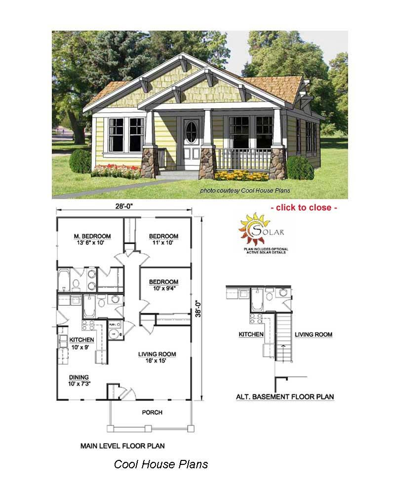 Bungalow floor plans bungalow craft and craftsman for Plan bungalow 1 chambre