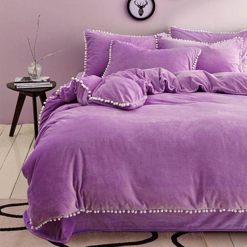 4pcs Light Lilac Bed Sheet Pompom Duvet Cover Soft Bedding