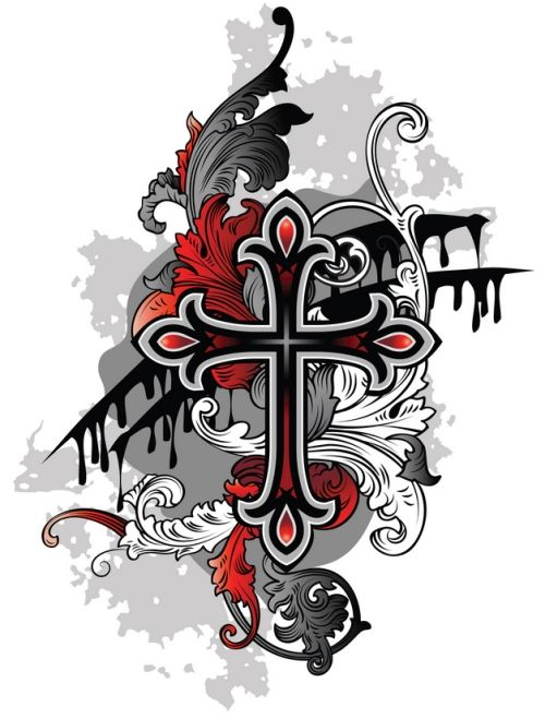 Red Black Grey Design Gallery Of Crosses Cool Crosses Tattoos