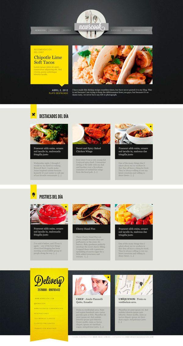 NewsCook Newsletter by Vanessa Zúñiga, via Behance 오늘의 요리, 오늘의 디저트로 그루핑, 메인컨텐츠영역의 빅이미지를 활용,최하단엔서비스관련된 컨텐츠배치(딜리버리서비스 및 셰프정보)