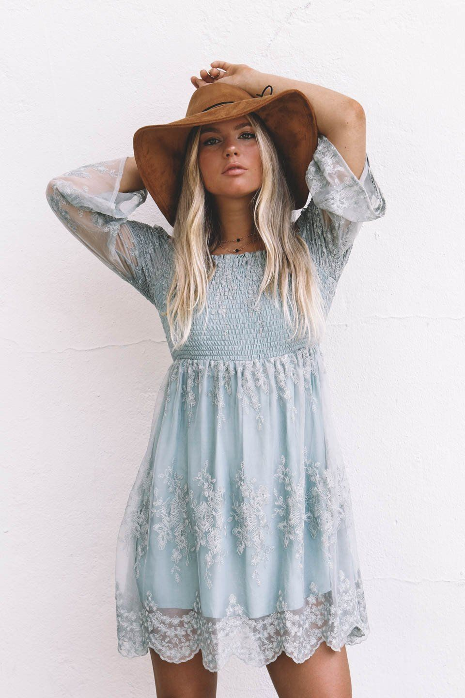 Let Me Be Yours Sage Embroidery Off the Shoulder Dress