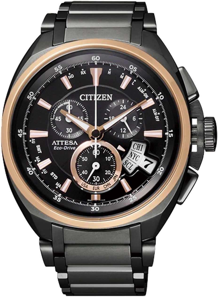 Citizen By0029 54e Eco Drive Attesa Black Titanium Dlc Atomic Global Radio Controlled Chrono Sapphire Japan Watch Watches For Men Black Watch Titanium Bracelet