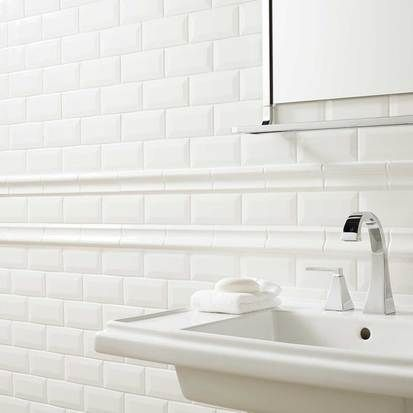 Check Out This American Olean Product Photo Features 3 X 6 Bevel Tile And 2 Chair Rail In Ice White