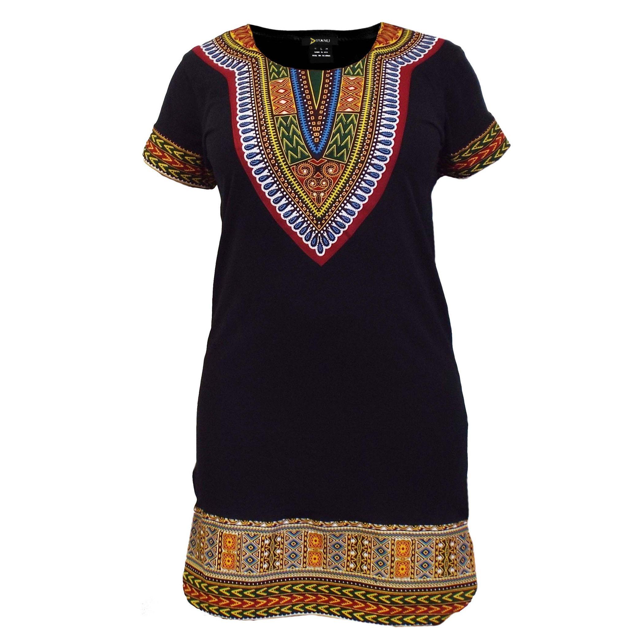 d2a1ee1c6cd NEW Women s Fitted Dashiki African Print T-Shirt Dress (Black ...
