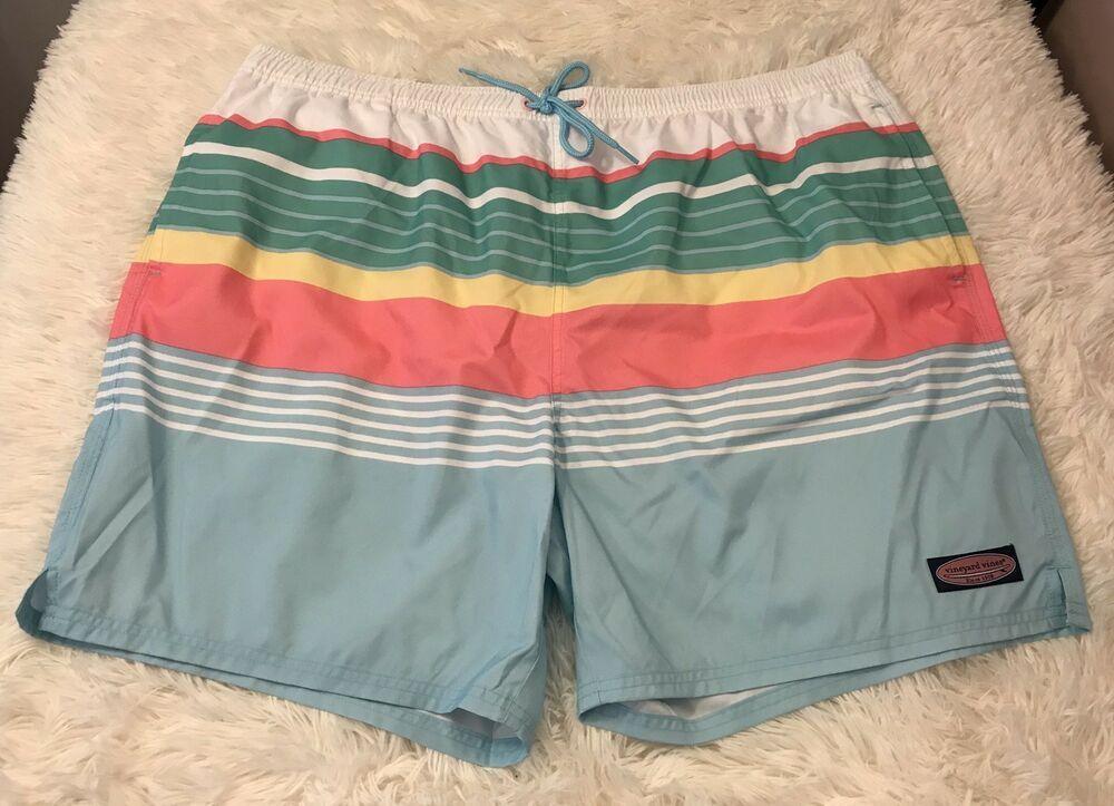 0c67f92c6ea77 Men's XXL Vineyard Vines Swim Trunks Sea Splash Boca Bay Stripe Chappy NNWT  2XL #VineyardVines #Trunks