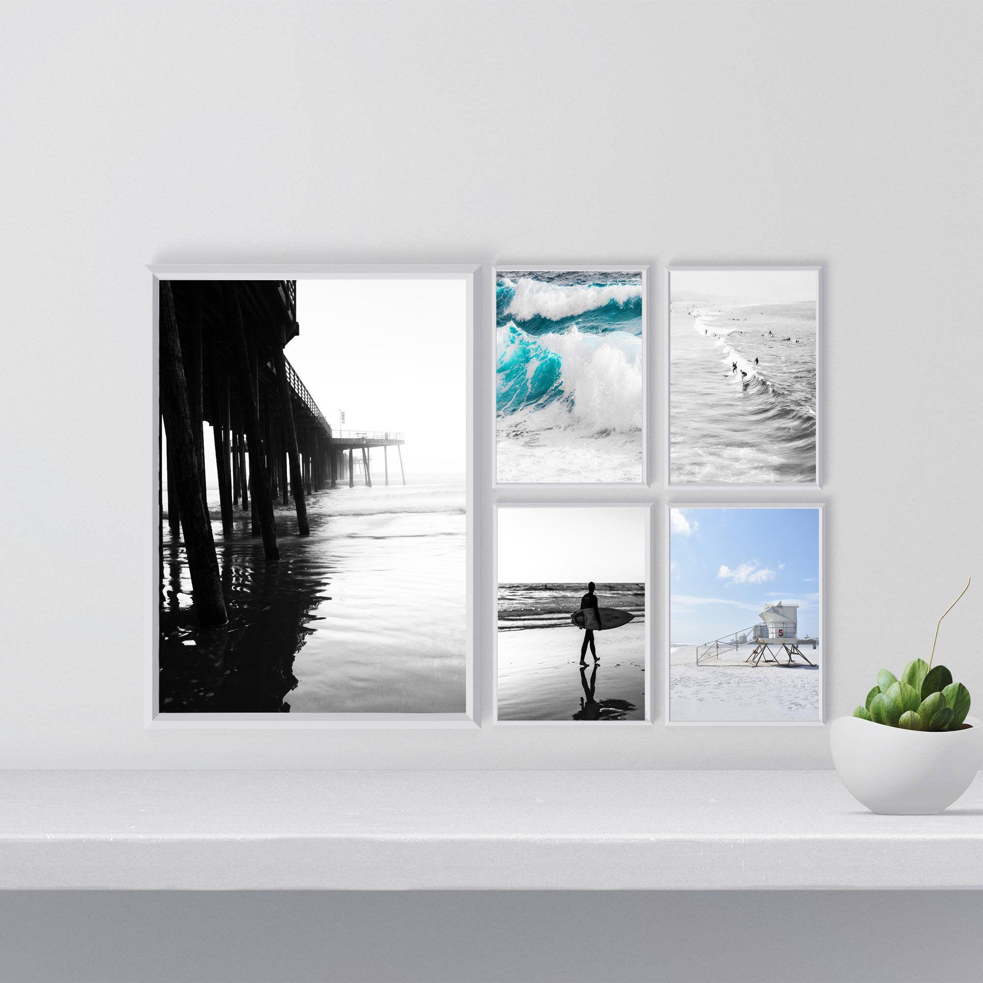 California Surf Prints Beach Wall Art Set Of 5 Poster Ocean