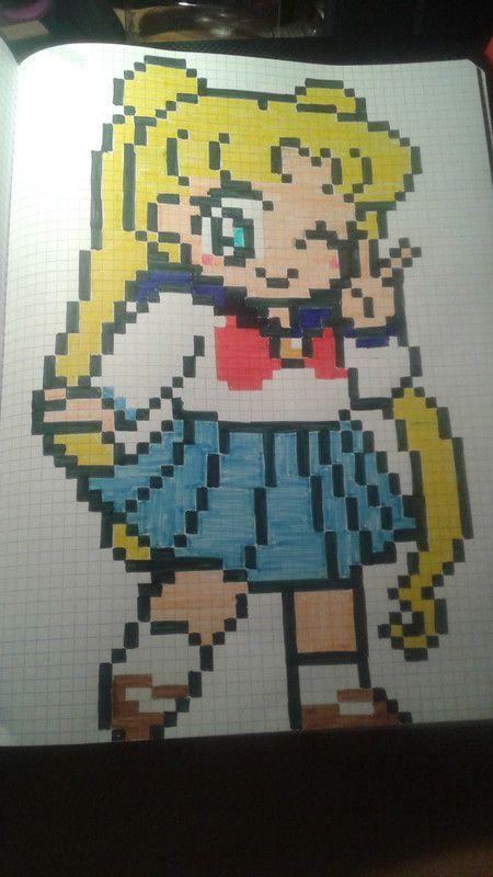 Sailor Moon Gd Format Dessin Pixel Pixel Art Personnage