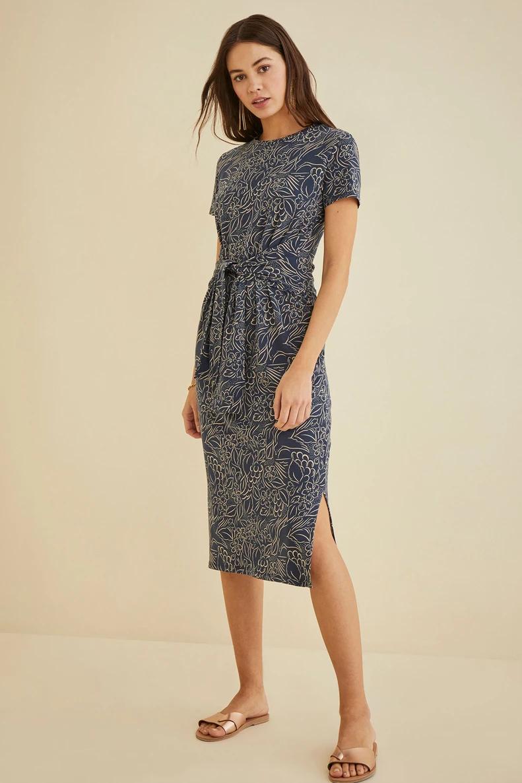 Colombe Dress Carmel Conversational Dresses Amour Vert Dresses Midi Short Sleeve Dress Knit Dress [ 1186 x 791 Pixel ]