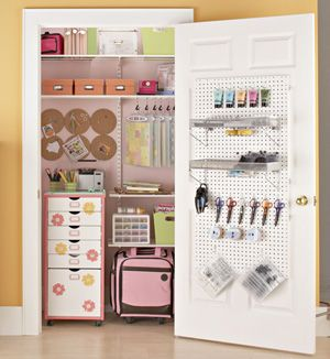 Organized craft closet.