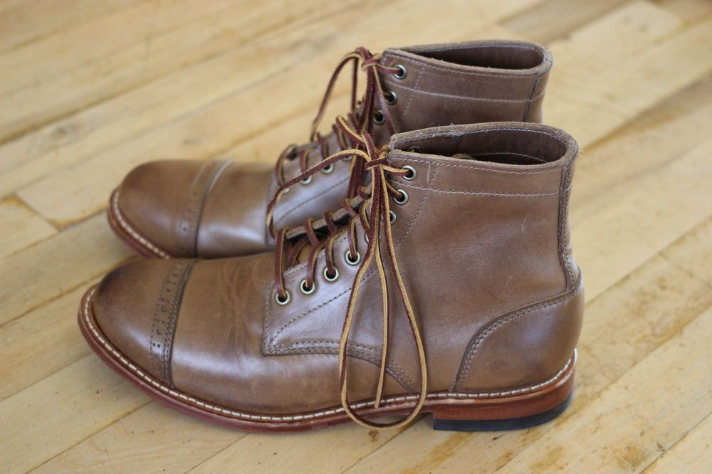 Oak Street Bootmakers Cap-Toe Trench Boot #Horween Natural Leather 9.5D  #Menswear