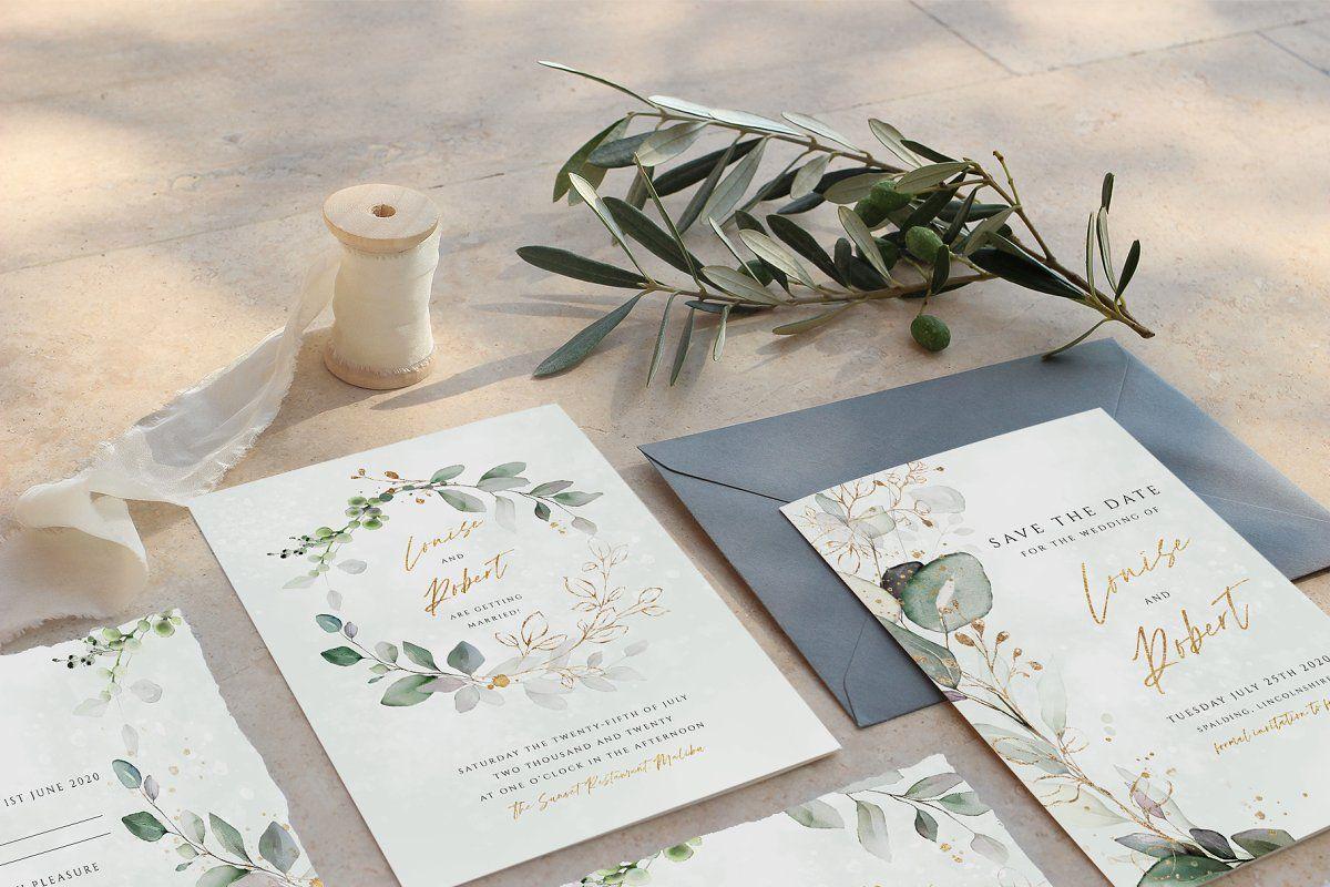 Photo of Advert: Eucalyptus wreath bridal suite by R Whitehurst Design on Creative Market. T …