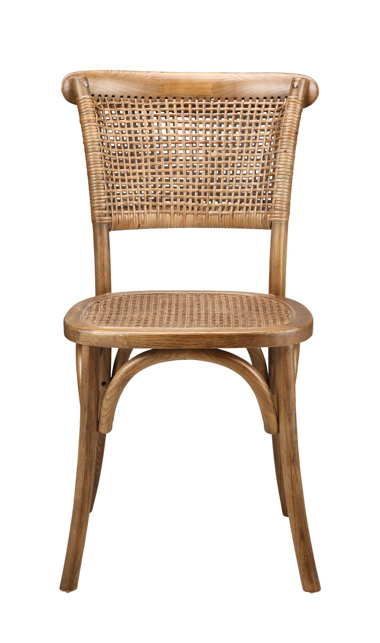 Churchill Dining Chair Set Of 2 Solid Elm Wood Rattan