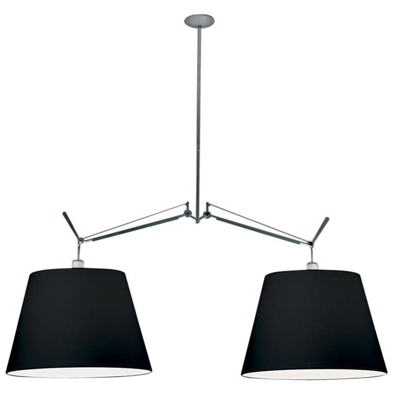 Artemide Tolomeo Black Double Pendant Lamp Fabric Shades Artemide Pendant Lamp