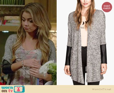 Haley\'s leather sleeved cardigan on Modern Family. Outfit Details ...
