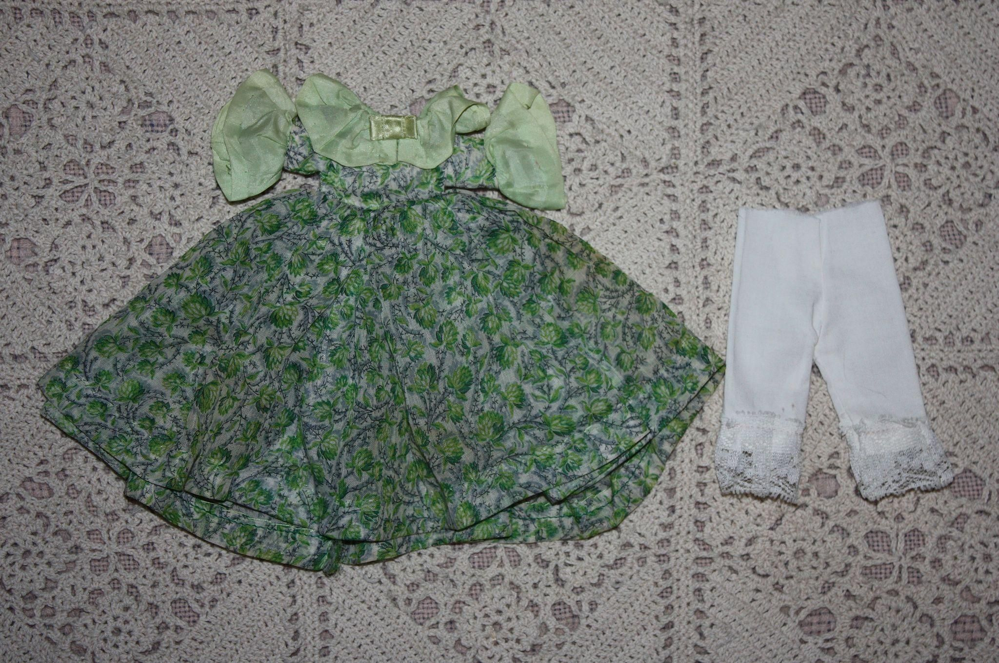 Lovely Green Print Voile Dress and Bloomers for China Head Doll 1930s