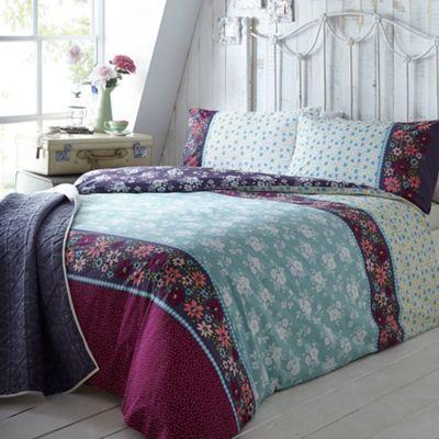 At home with Ashley Thomas Aqua bouquet print bedding set- at ...