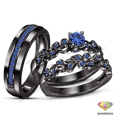 Sapphire Trio Wedding Ring His And Hers Bridal Bands Set 10k Black Gold Finish Black Gold Ring Black Gold Jewelry Wedding Ring Trio Sets