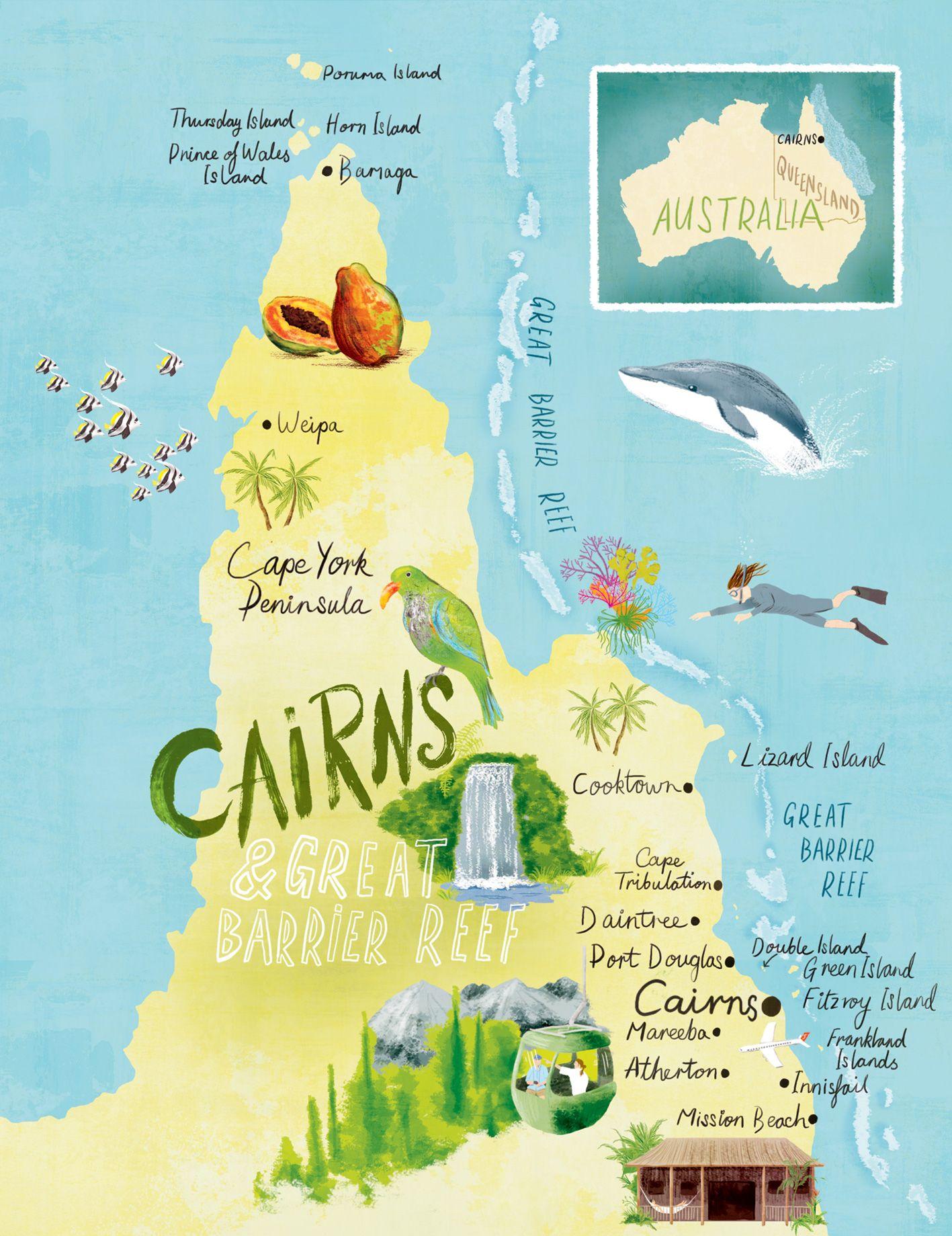 Great Barrier Reef Karte.Cairns Great Barrier Reef Map Scott Jessop Maps In 2019
