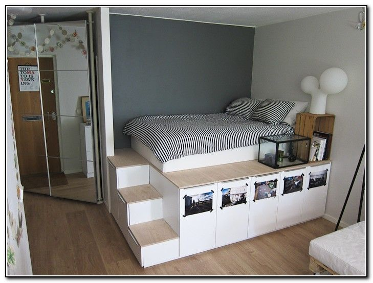 King Size Platform Bed Plans With Storage. | I could make that ...