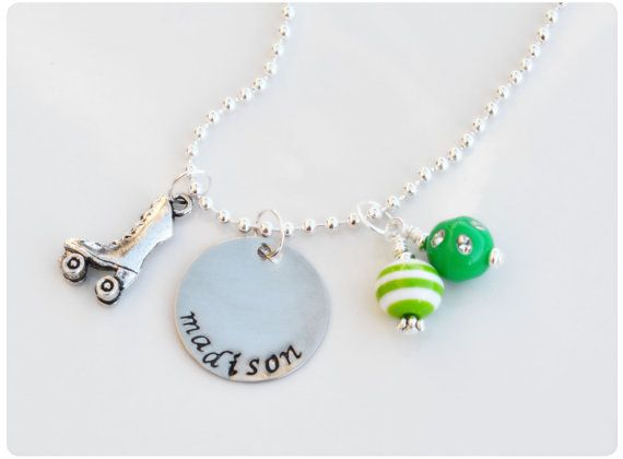 Roller Skating Skater Charm Necklace - Custom Personalized Silver Hand Stamped Jewelry For Children on Etsy, $14.00