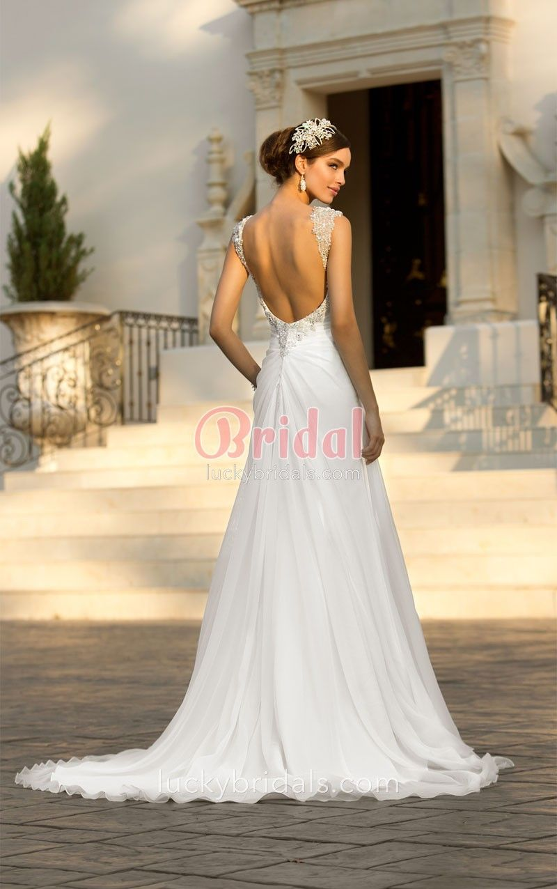 A line chiffon wedding dress  Open Back Cap Sleeve ALine Beach Chiffon Wedding Dress Sweep Train