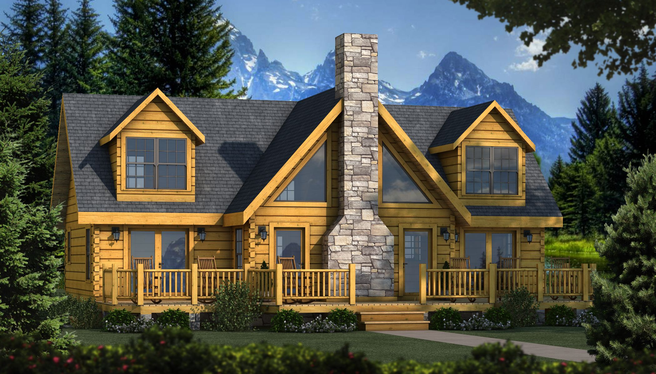 "the grand lake"" is one of the many log cabin home plans from"