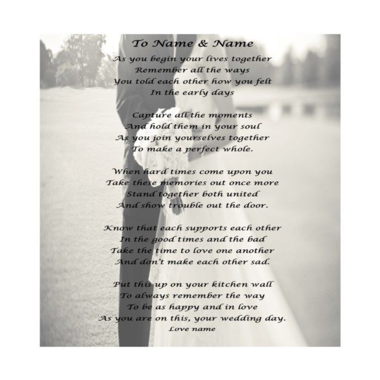 Poem For The Bride And Groom On Their Wedding Day Version 3