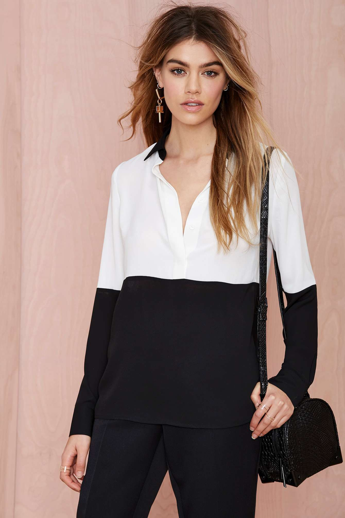 Nasty Gal Off the Block Color Block Blouse