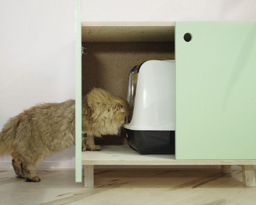 kat meubel katten toilet chill cabinet modern strak cat poes