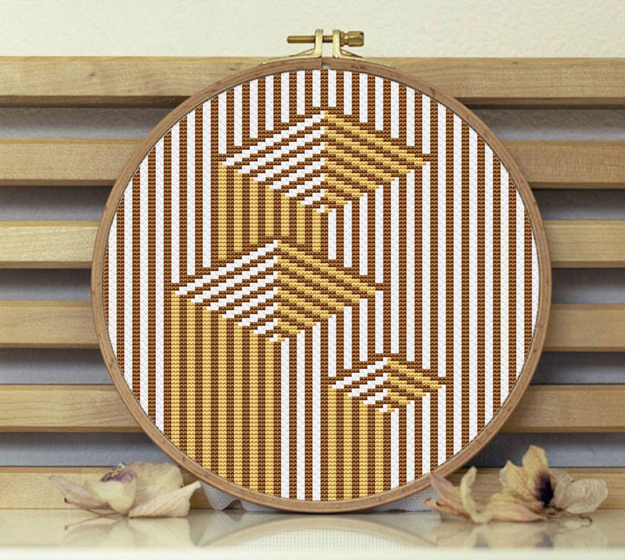 Modern Cross Stitch Chart Geometric Wood Cross Stitch Pattern Home Decor Modern Wood Easy Pattern PDF
