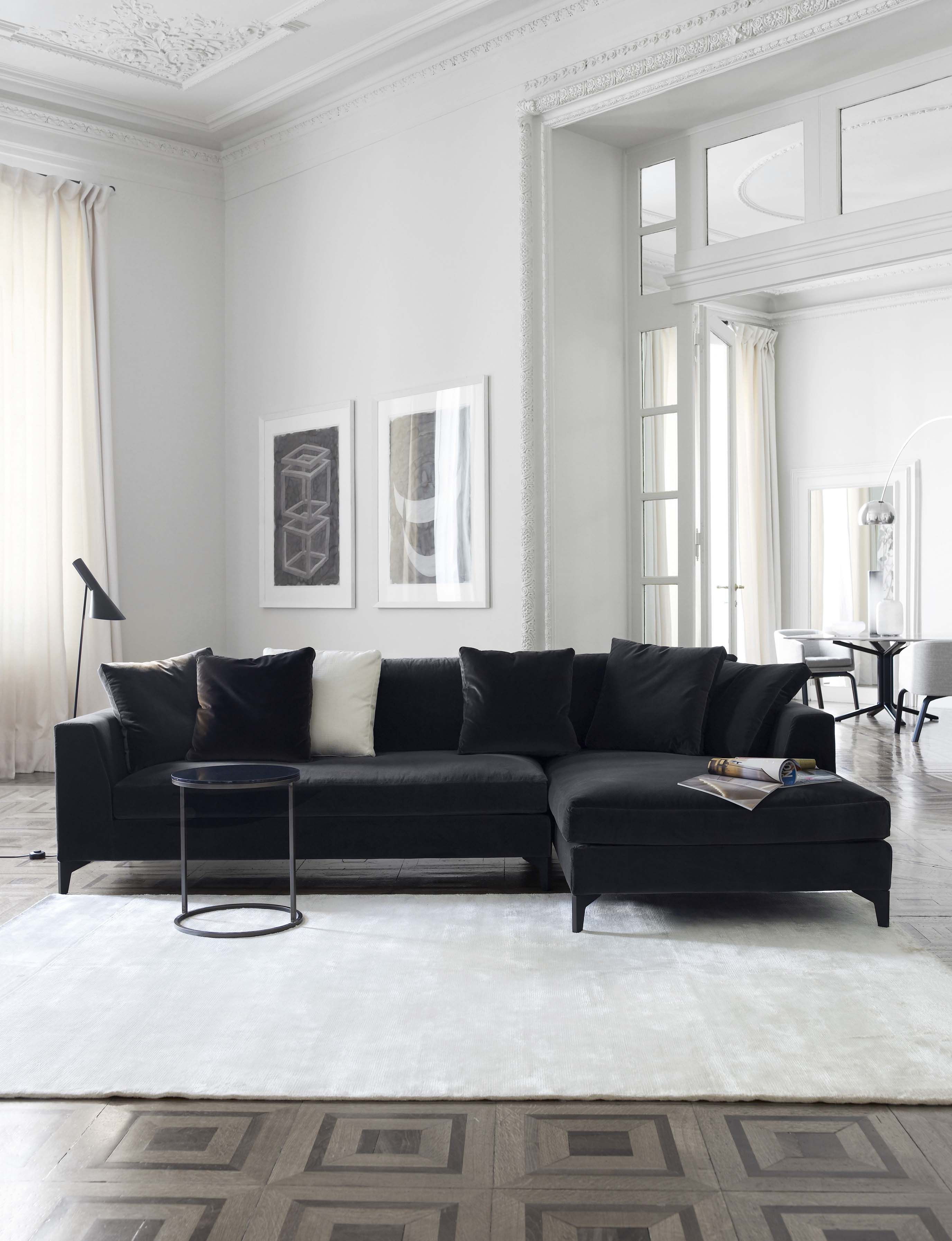 Meridiani i lewis up modular sofa i peck low table i lalit - Black accessories for living room ...