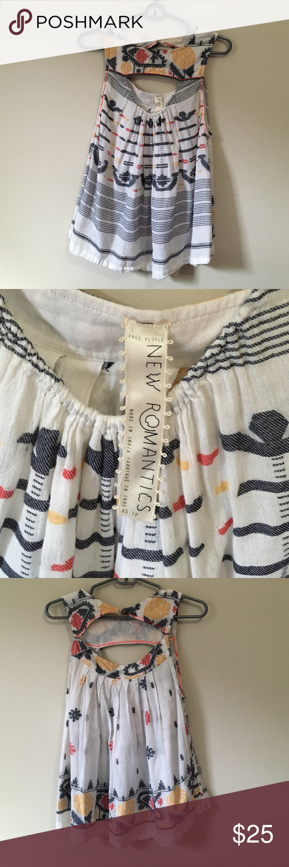 Free People patterned tank top This adorable flowy cotton tank has been worn once or twice and is in excellent condition! Free People Tops Tank Tops
