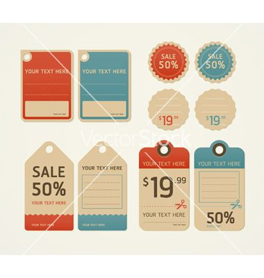 price tags retro color design vector 1096473 by kittisak on