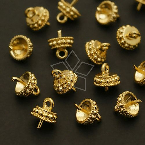 9619121d9abf8 CP039GD / 8 Pcs Round Box Bead cap with peg Gold by beadsmaker ...