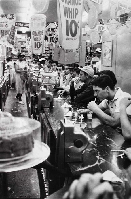Drugstore soda fountain, Detroit, 1955    Photo by Robert Frank