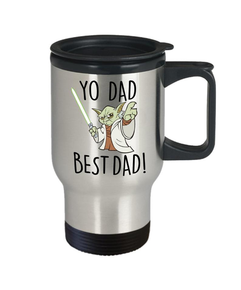 Yo dad yoda best dad star wars travel coffee mug funny