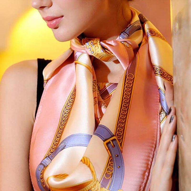 Square Scarves Pashmina Silk Shawl Wraps 90x90cm Head Neack Scarf Vintage Women