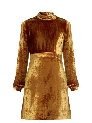 Gemma High Neck Velvet Dress A L C Matchesfashion Com Uk Velvet Dress Brown Party Dresses Brown Cocktail Dresses