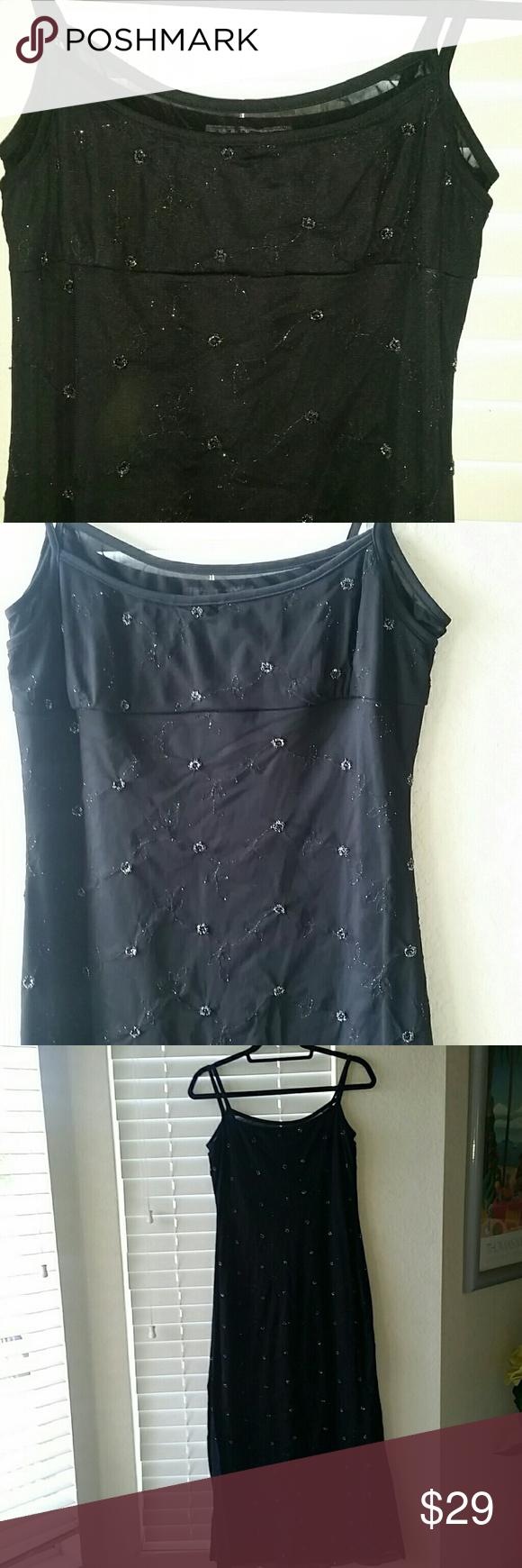 Midlength black diamond embellished dress embellished dress mid