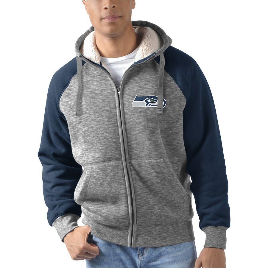 Men s G-III Sports by Carl Banks Heathered Gray College Navy Seattle  Seahawks Turning Point Sherpa Lined Full-Zip Jacket 319a935dc